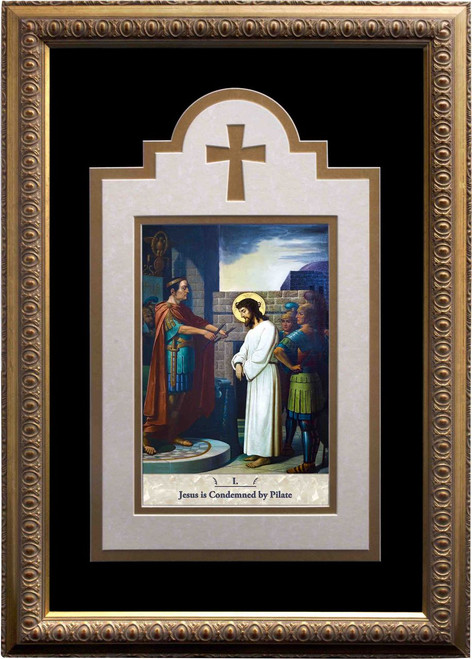 Emmerich Deluxe Stations of the Cross matted and framed  (Set of 14)