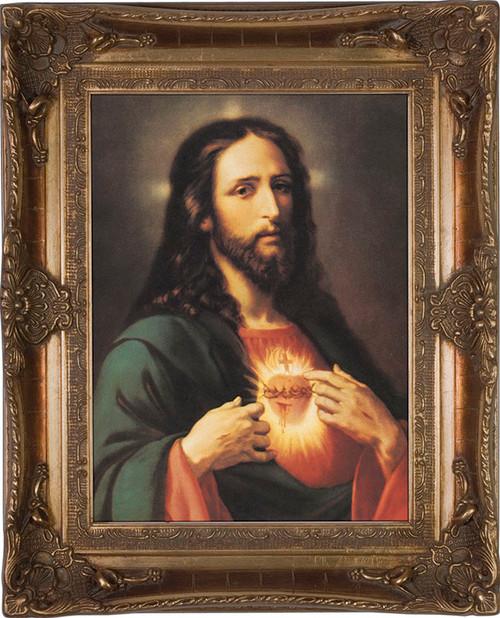 Traditional Sacred Heart Of Jesus Framed Art Catholic To