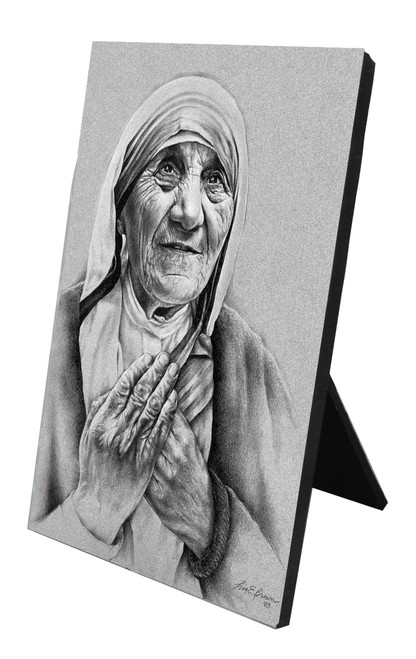 Mother Teresa by Lisa Brown Vertical Desk Plaque