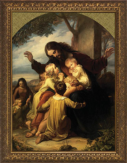 Jesus with the Children - Gold Framed Art