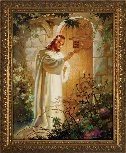 Christ at Heart's Door - Gold Framed Art