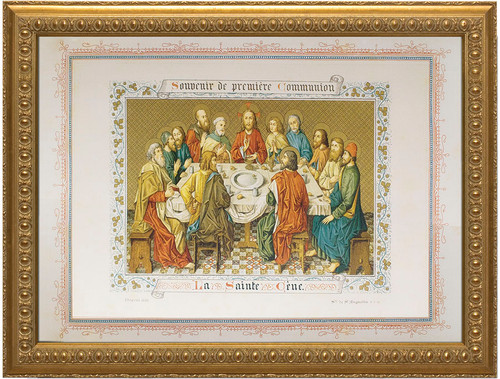Souvenir de Premiere Communion Framed Art (Print of Last Supper Tapestry)