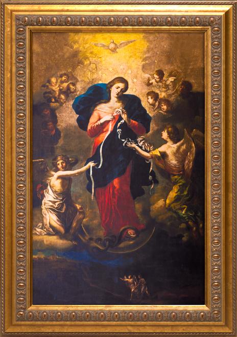 Mary Undoer of Knots Canvas: Ornate Gold Framed Art