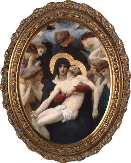 La Pieta Canvas - Oval Framed Art