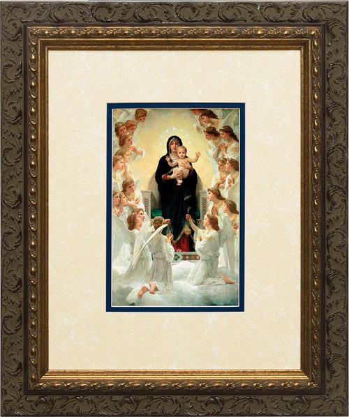 Queen of Angels Matted - Ornate Dark Framed Art