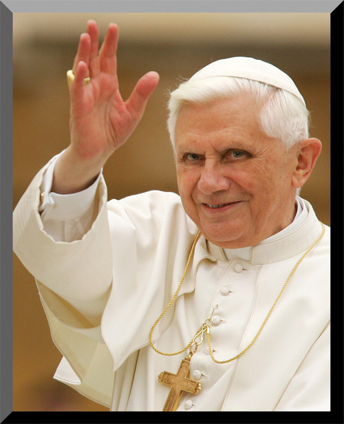 Pope Benedict Waving Wall Plaque