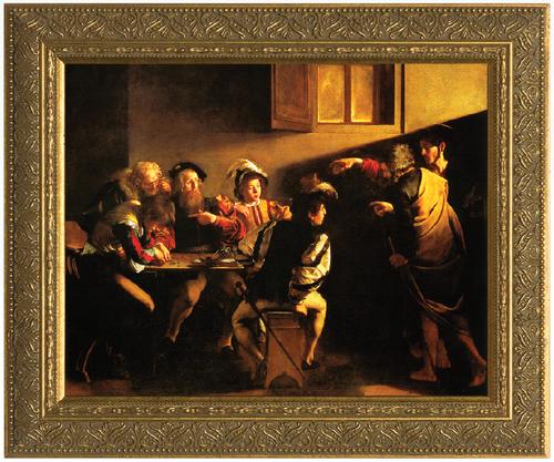 The Calling of St. Matthew (Caravaggio) - Standard Gold Framed Art
