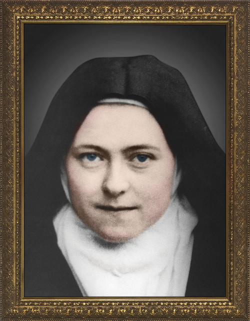 St. Therese of Lisieux Colorized - Standard Gold Framed Art