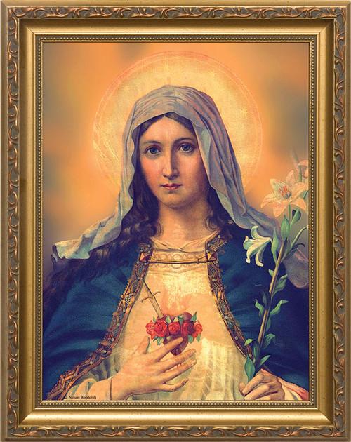 Antique Immaculate Heart - Standard Gold Framed Art