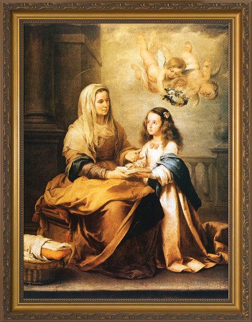 St. Anne with Mary - Standard Gold Framed Art