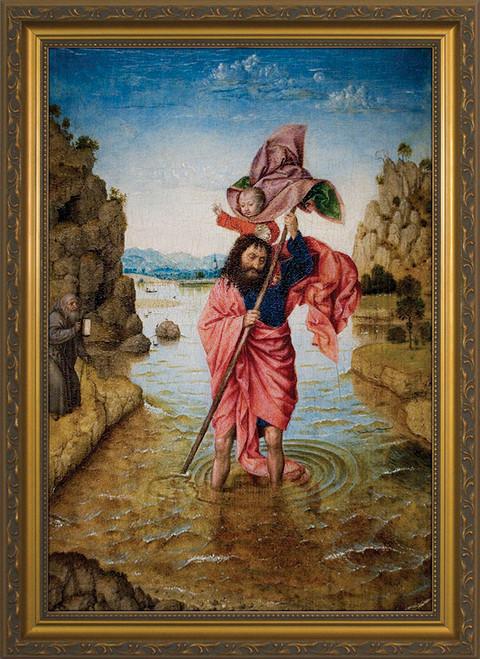 St. Christopher with Jesus Framed Art