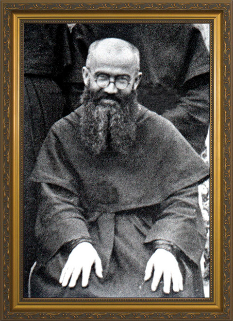 st maximilian kolbe framed art catholic to the max online catholic store. Black Bedroom Furniture Sets. Home Design Ideas