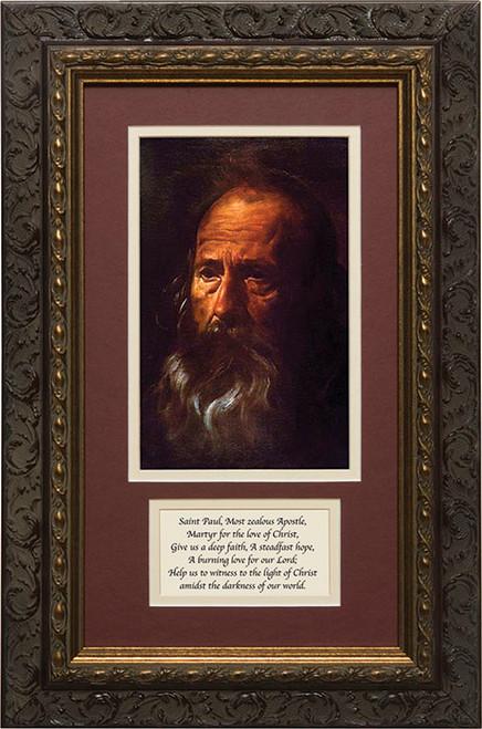 St. Paul (Portrait) by Velazquez Matted with Prayer - Ornate Dark Framed Art