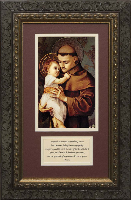 St. Anthony with Jesus Matted with Prayer - Ornate Dark Framed Art