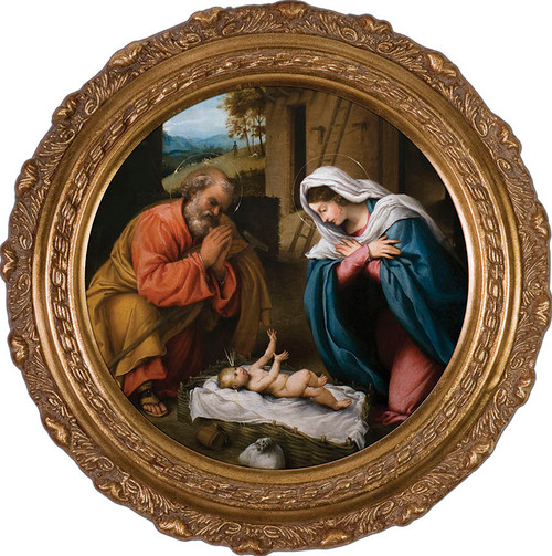 Nativity with Reaching Jesus Canvas - Round Framed Art