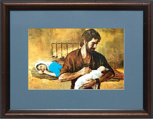 Holy Family Matted - Walnut Framed Art