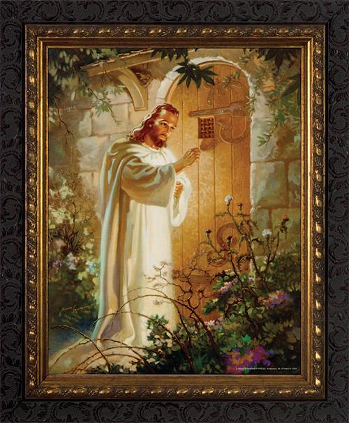 Christ at Heart's Door - Ornate Dark Framed Art