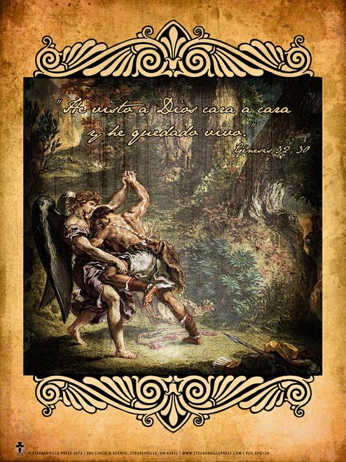 Spanish Jacob Wrestling Angel Poster
