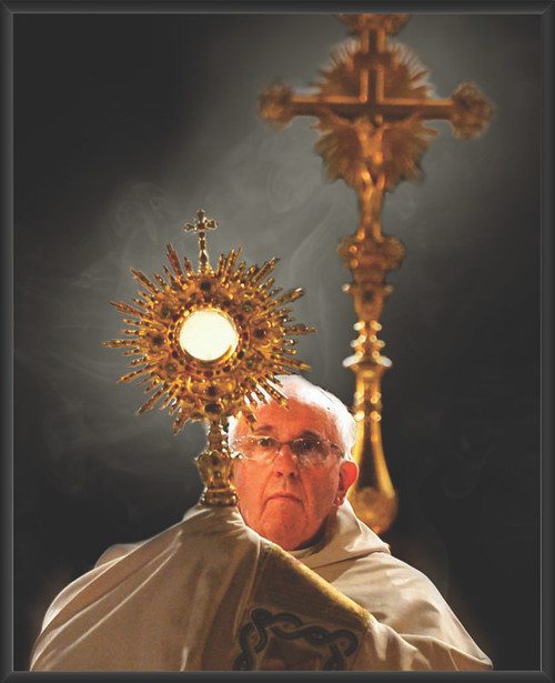 Pope Francis with Monstrance Wall Plaque
