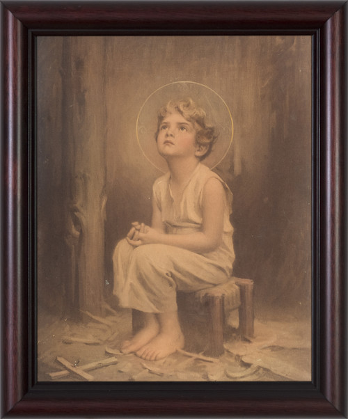 Antique Christ Child (With Cross) Framed Art
