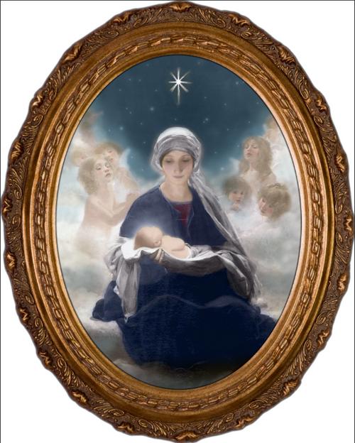 Star of Bethlehem by Bruno Piglhein Oval Framed Canvas