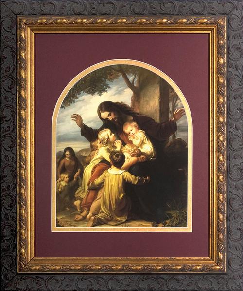 Jesus with the Children Matted - Ornate Dark Framed Art