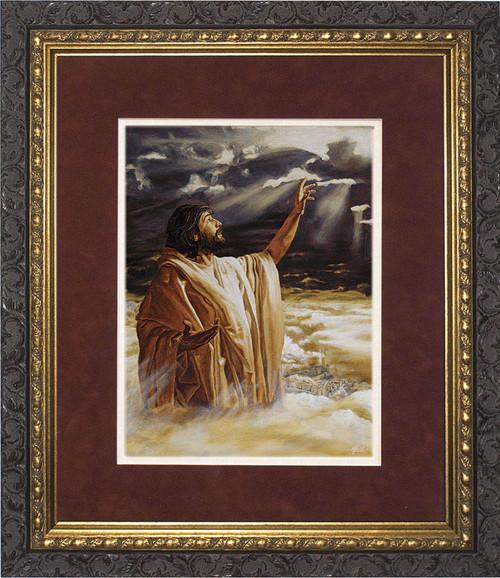 Ascension into Heaven Matted - Ornate Dark Framed Art