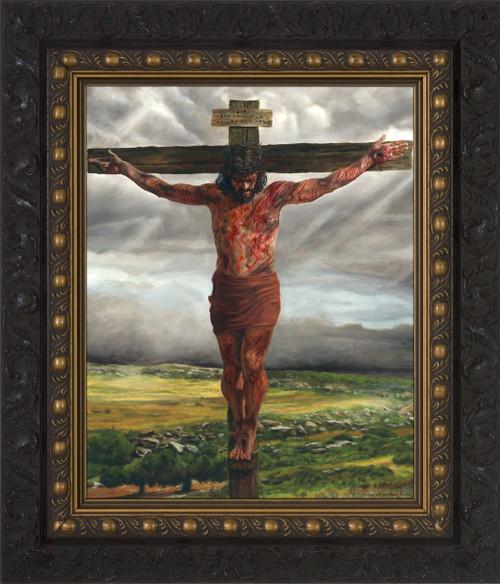 Crucifixion By Jason Jenicke Dark Framed Art