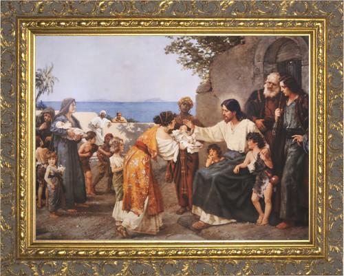 Christ Blessing the Children - Ornate Gold Framed Art