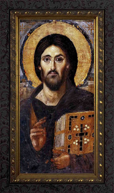 Christ Pantocrator Icon - Ornate Dark Framed Art