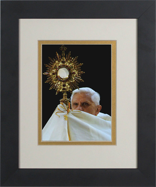 Pope Benedict with Monstrance Matted - Black Framed Art