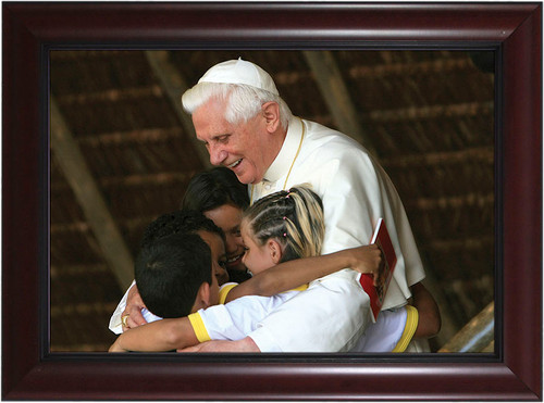 Pope Benedict with Children Matted - Black Framed Art