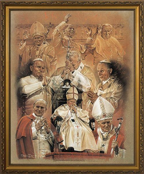 Pope John Paul II Collage Framed Art