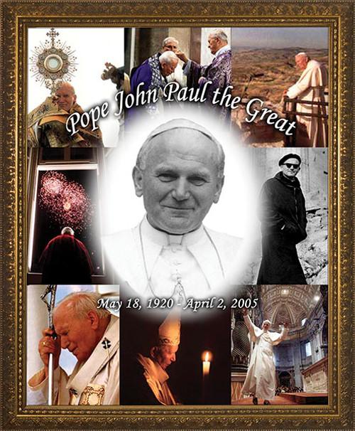 Pope John Paul the Great Collage Framed Art
