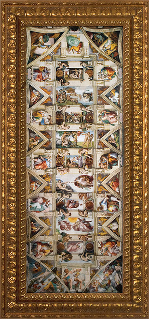 Ceiling of the Sistine Chapel - Ornate Gold Framed Art