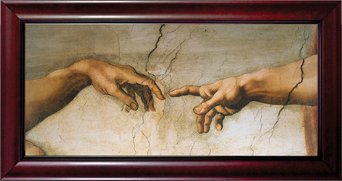 Creation of Adam by Michaelangelo Detail Framed Art