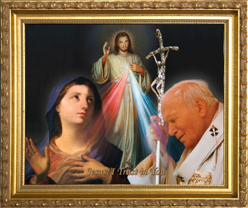 St. John Paul II, Mary and Divine Mercy Framed Art