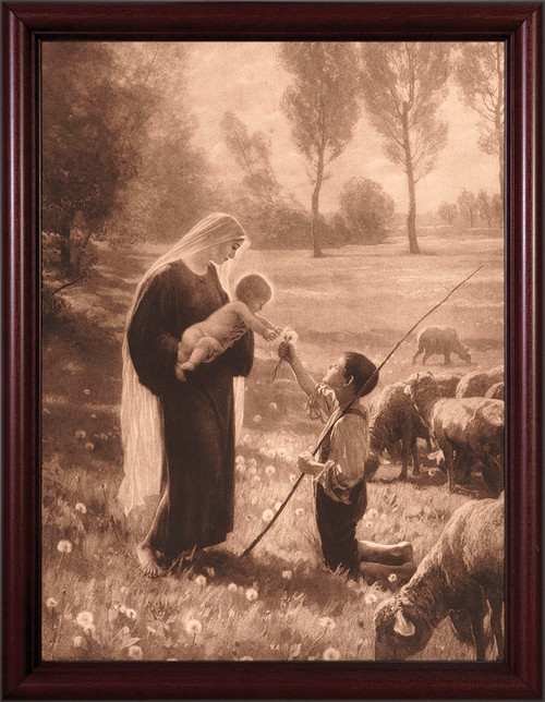 Gift of the Shepherd - Cherry Framed Art