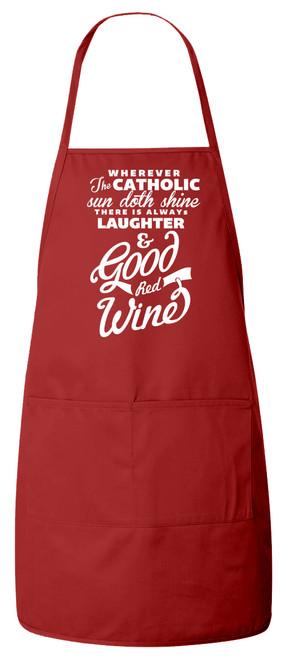 Catholic Wine Apron (Red)