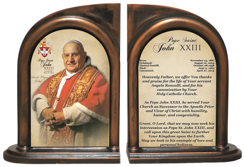 Commemorative Pope John XXIII Sainthood Prayer Bookends