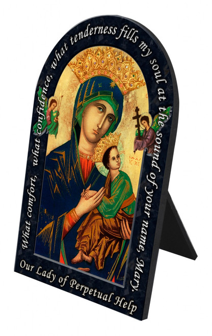 Our Lady of Perpetual Help Prayer Arched Desk Plaque