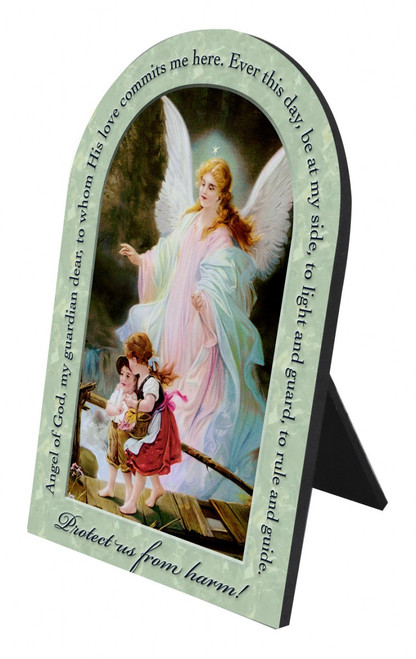 Guardian Angel Prayer Arched Desk Plaque II