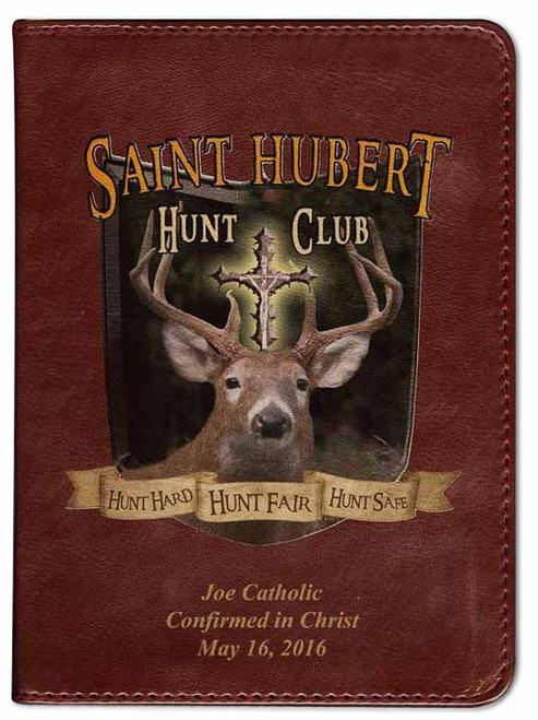 Personalized Catholic Hunter Bible with St. Hubert Cover - Burgundy RSVCE