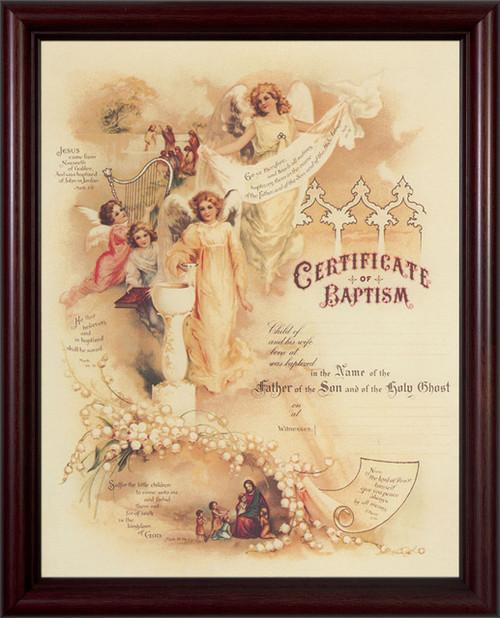 Certificate of Baptism II Cherry Framed