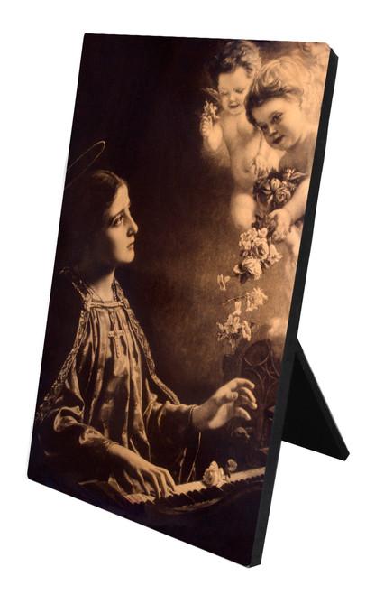 St. Cecilia (Sepia) Vertical Desk Plaque