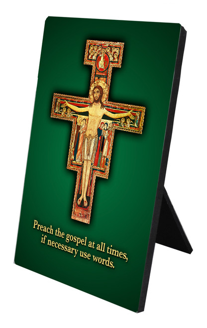 San Damiano with Prayer Vertical Desk Plaque
