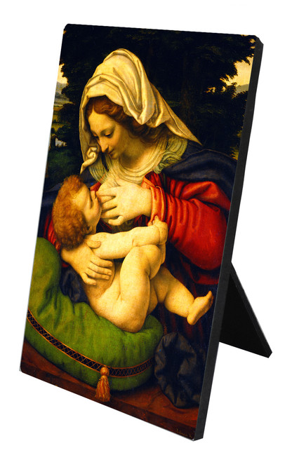 Madonna of the Green Cushion Vertical Desk Plaque