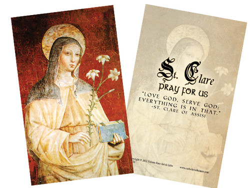 St. Clare (Red) Holy Card