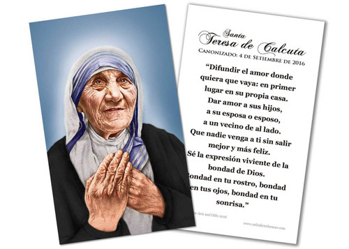 SPANISH St. Teresa of Calcutta Canonization Quote Holy Card