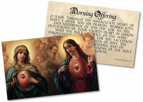 Morning Offering with Sacred and Immaculate Hearts Holy Card